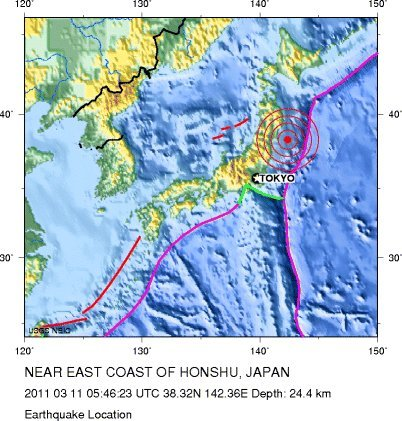 earthquake in japan map. a Google Earth map of the